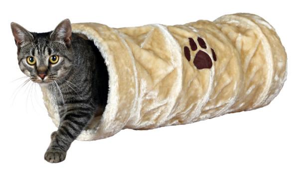 Trixie Katzen Spieltunnel Plüsch beige