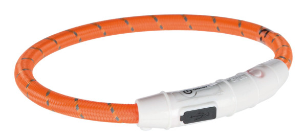 Trixie Dog Flash Leuchtring USB Orange M - L 45 cm / 7 mm