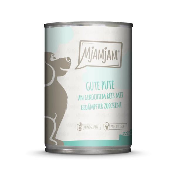 Mjamjam Dog gute Pute an Reis mit gedämpfter Zucchini 400 g